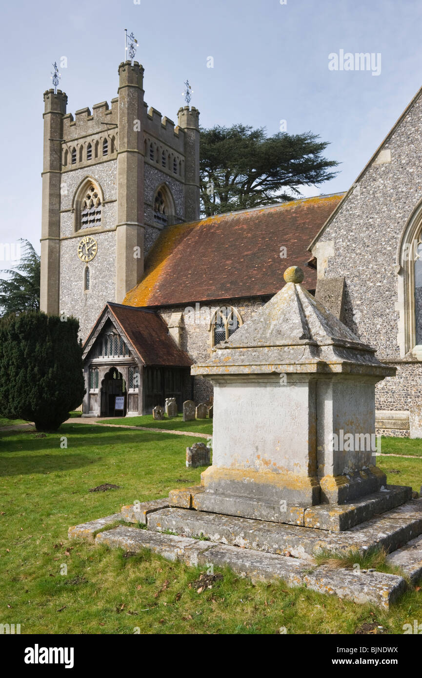 A tomb in the churchyard of St Mary the Virgin parish church Hambleden village Buckinghamshire UK - Stock Image