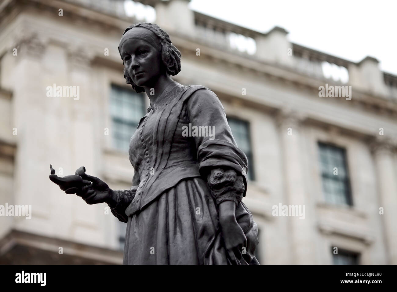 Statue Of Florence Nightingale Known As The Lady Of The Lamp In The Crimean  War Near The Guards Monument In London