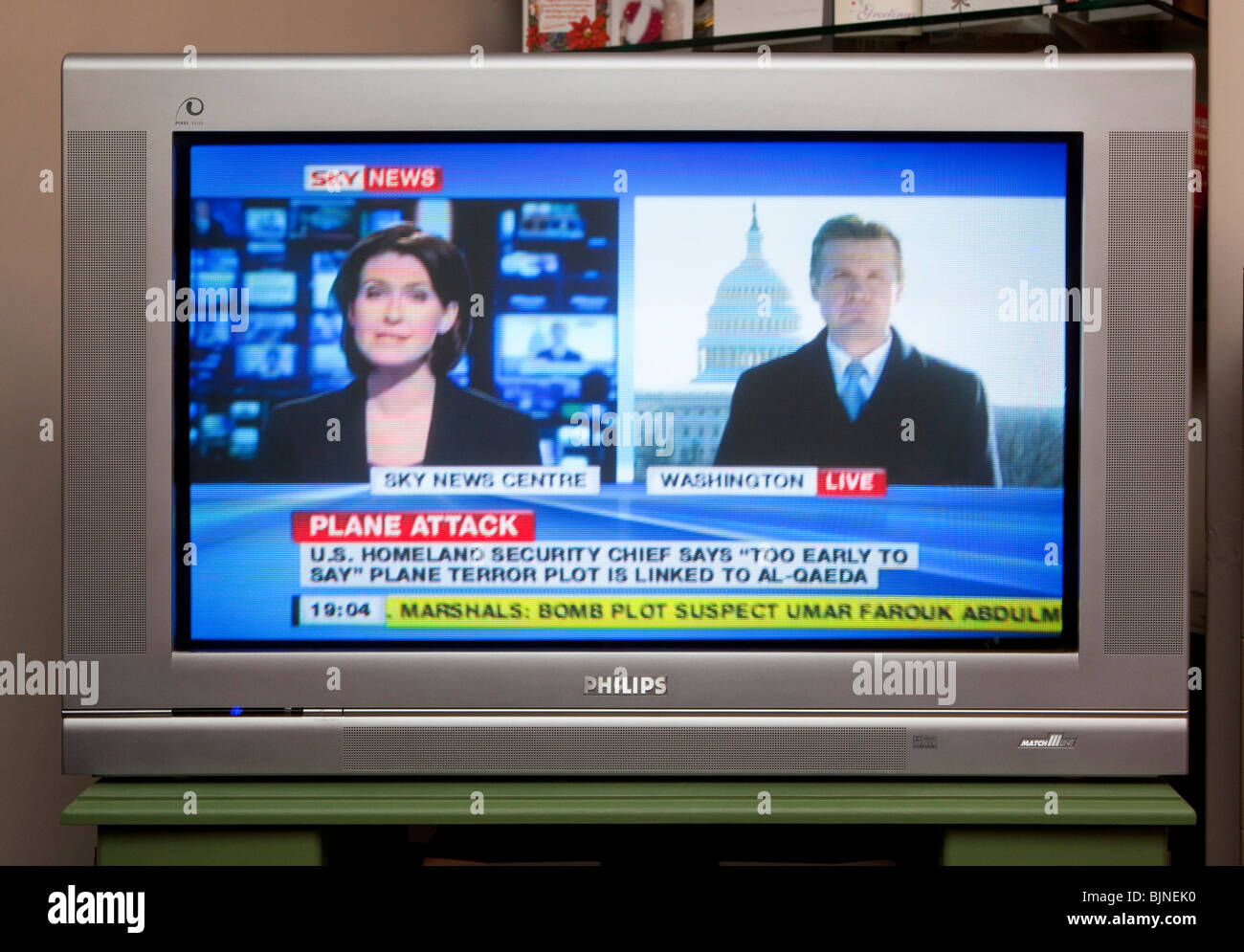 Tv Screen Showing Sky News Channel Stock Photo 28746676