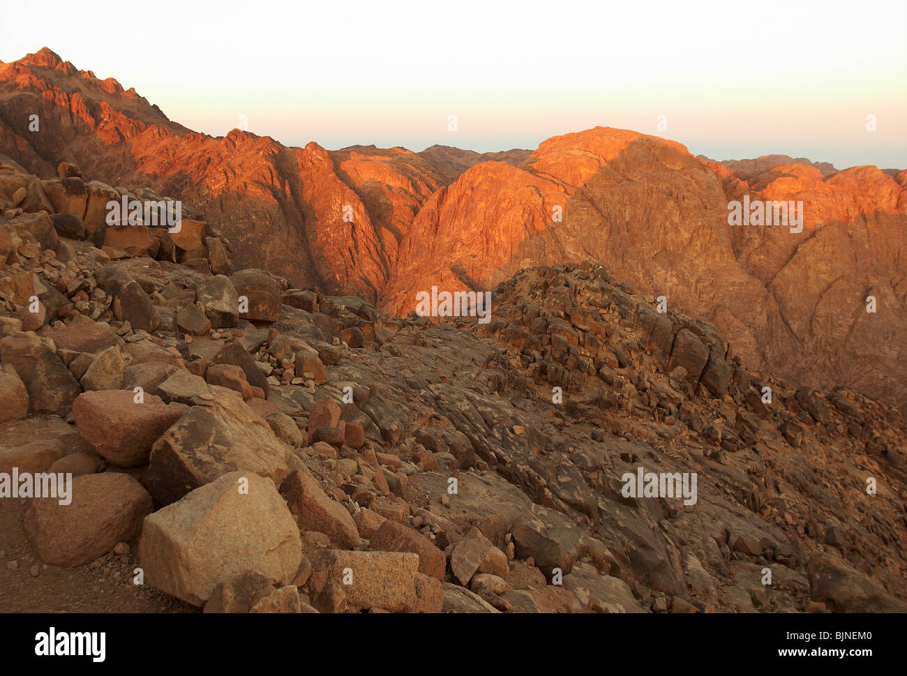 Holy ground Mount Sinai in early morning - Stock Image