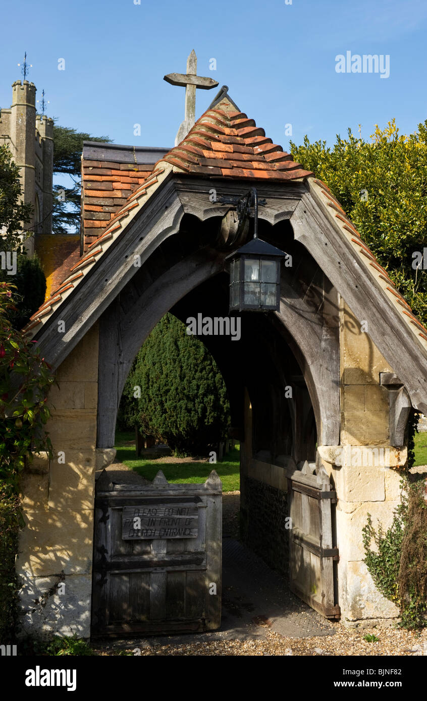 The lychgate entrance to St Mary the Virgin parish church Hambleden Buckinghamshire UK - Stock Image