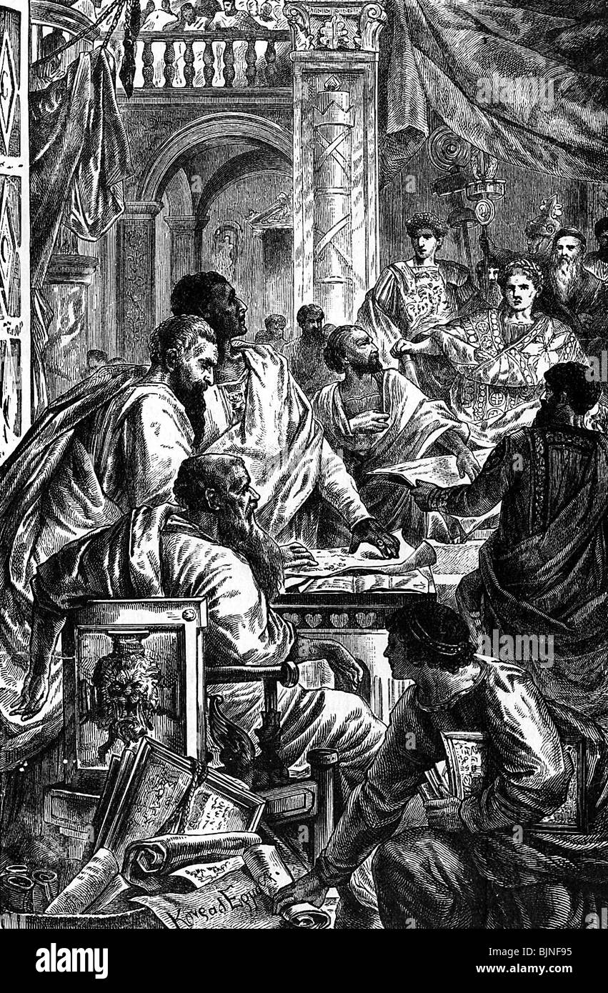 religion, christianity, councils, First Council of Nicaea, 325, session presided by Emperor Constantine 'the - Stock Image