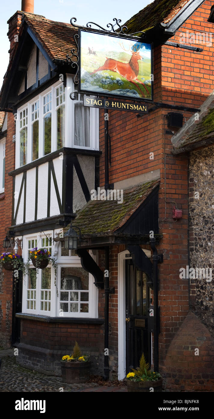 The Stag and Huntsman public house in Hambleden village Buckinghamshire UK - Stock Image