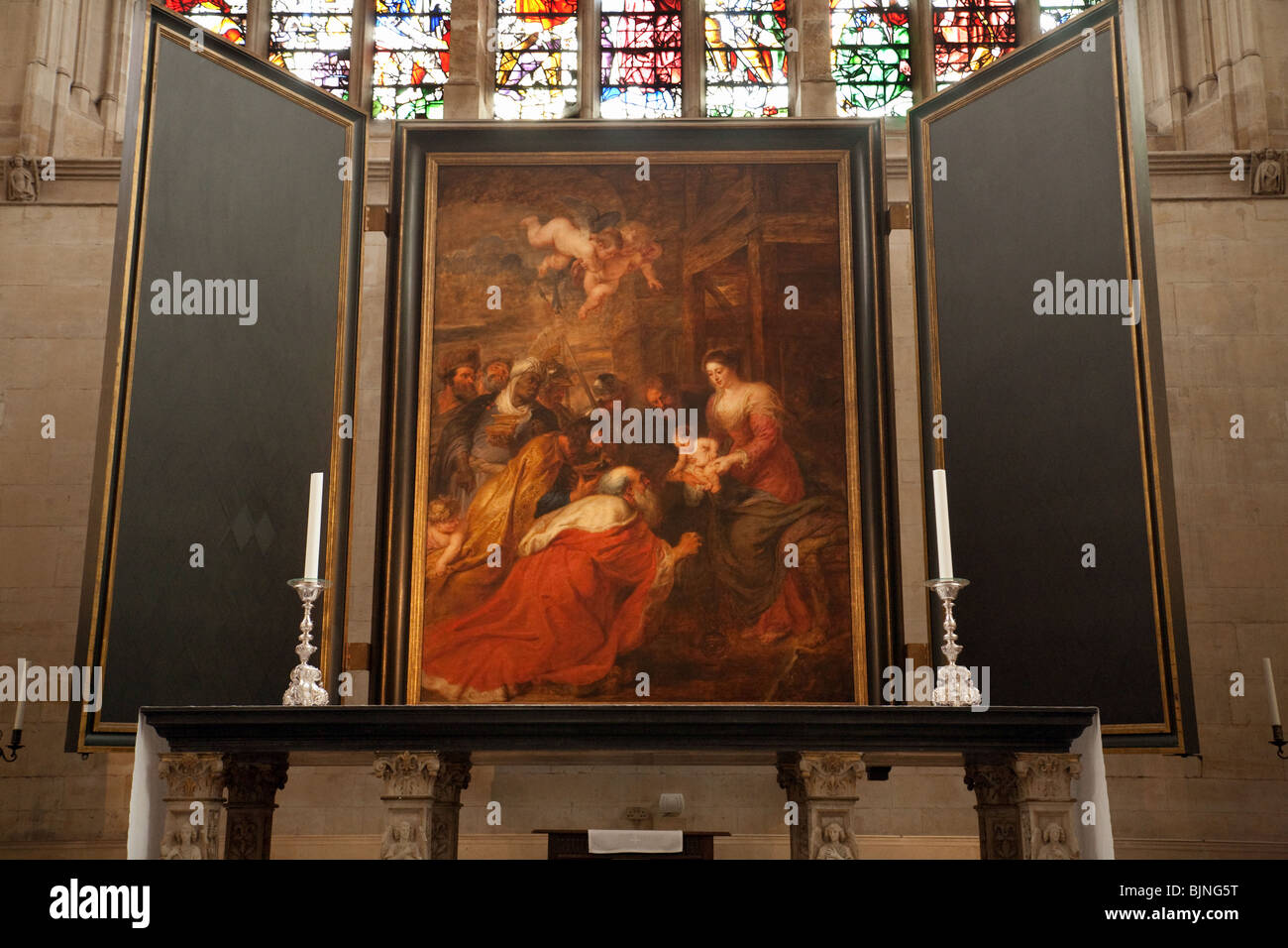 Rubens painting, The Adoration of the Magi (1634) in Kings College chapel,  Cambridge University, UK