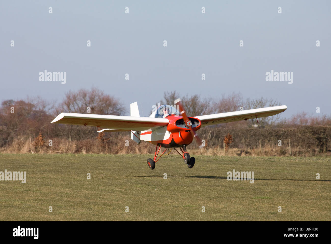 Tipsy T.66 R45 Series 3 Nipper in flight about to touchdown at Breighton Airfield - Stock Image