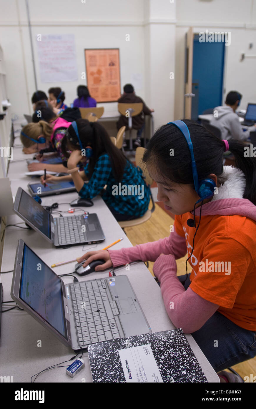 Technology driven after-school math program in Brooklyn in New York - Stock Image