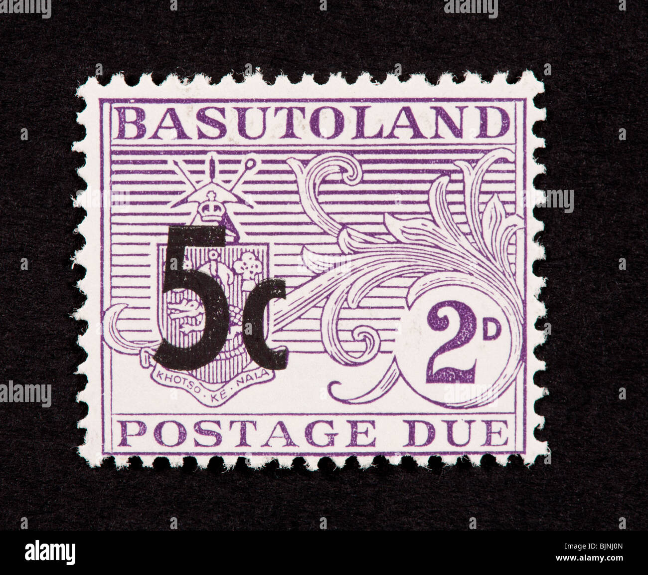 Postage due stamp from Basutoland (later Lesotho), overprinted with higher denomination. - Stock Image