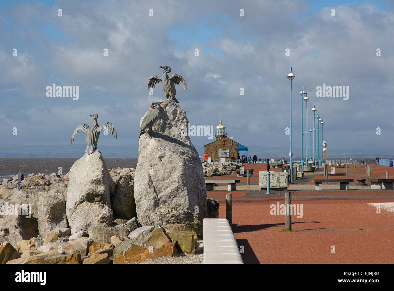 Sculpture of cormorants and Stone Jetty, Morecambe, Lancashire, England UK - Stock Image