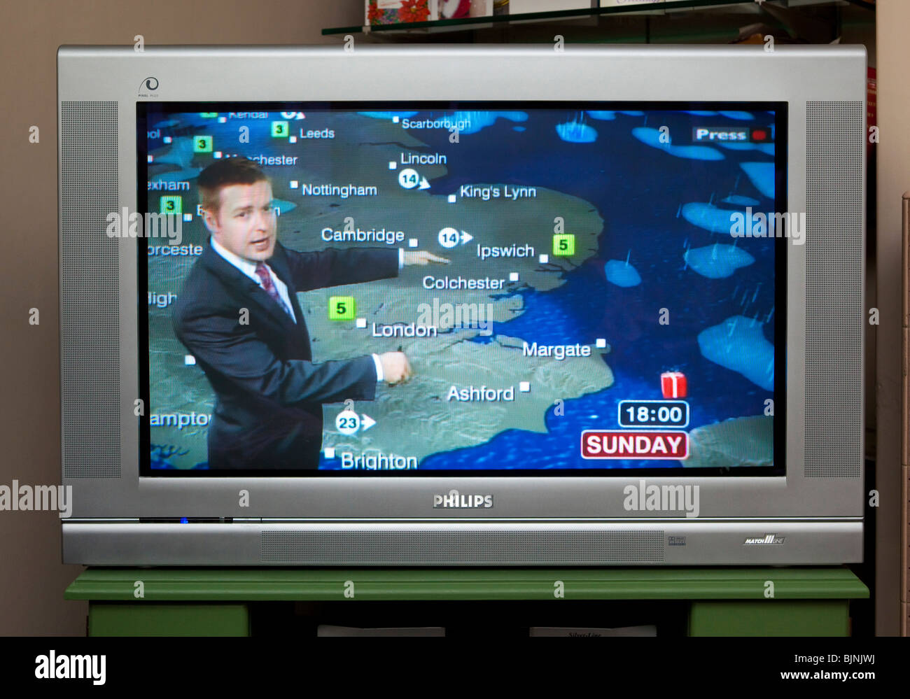 TV screen showing BBC weather forecast - Stock Image