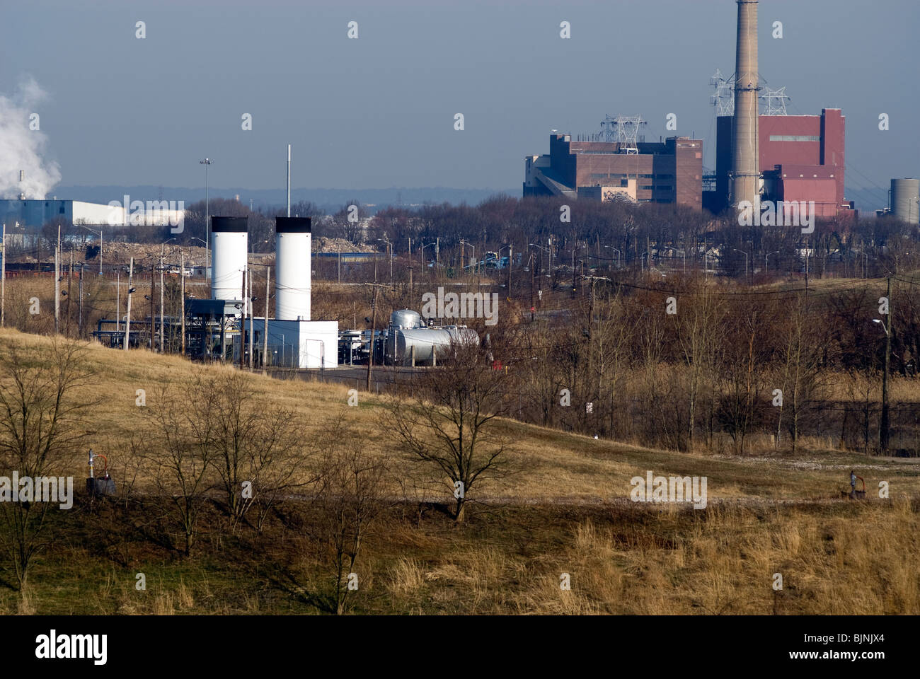 Methane gas collection infrastructure seen on North Mound in the Fresh Kills landfill in Staten Island in New York - Stock Image