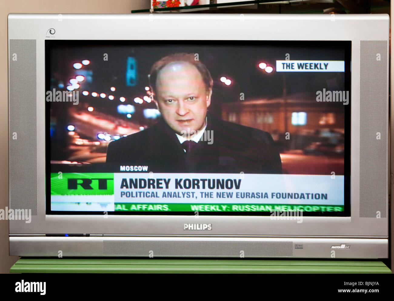 tv screen showing russia today rt news channel stock photo 28750046