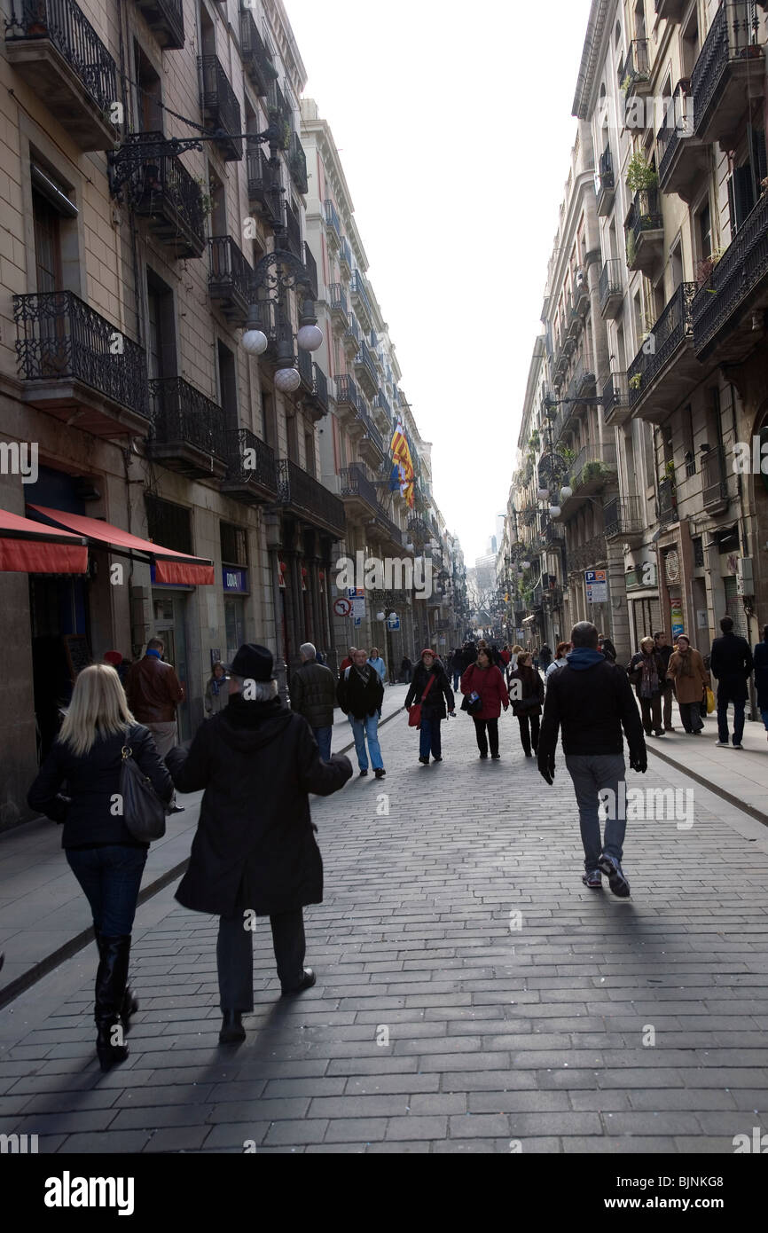 Carrer de Ferran, street in Barcelona's Barri Gòtic - Stock Image