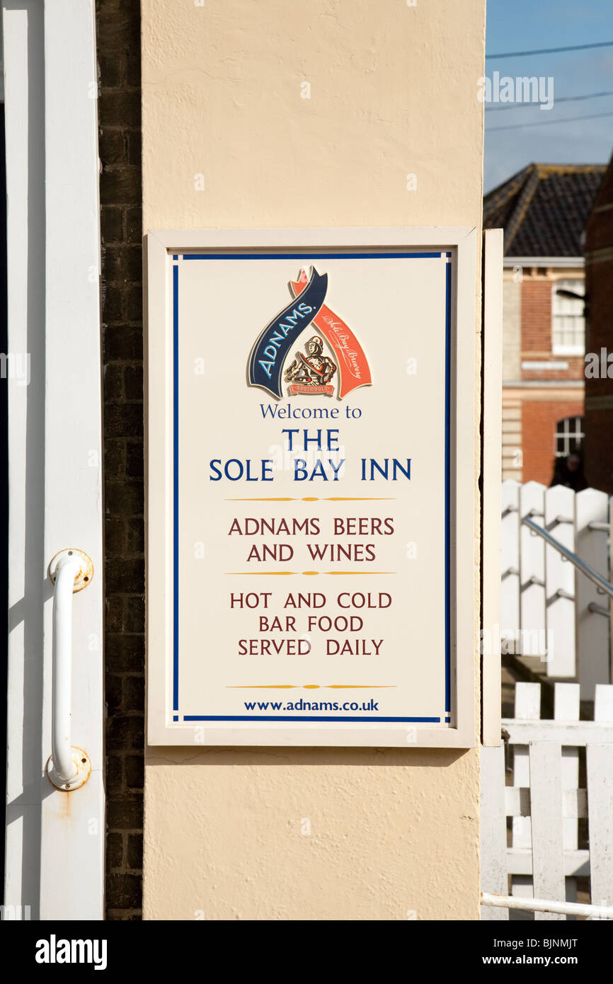 Sign for the Sole Bay Inn, Southwold, Suffolk, UK - Stock Image