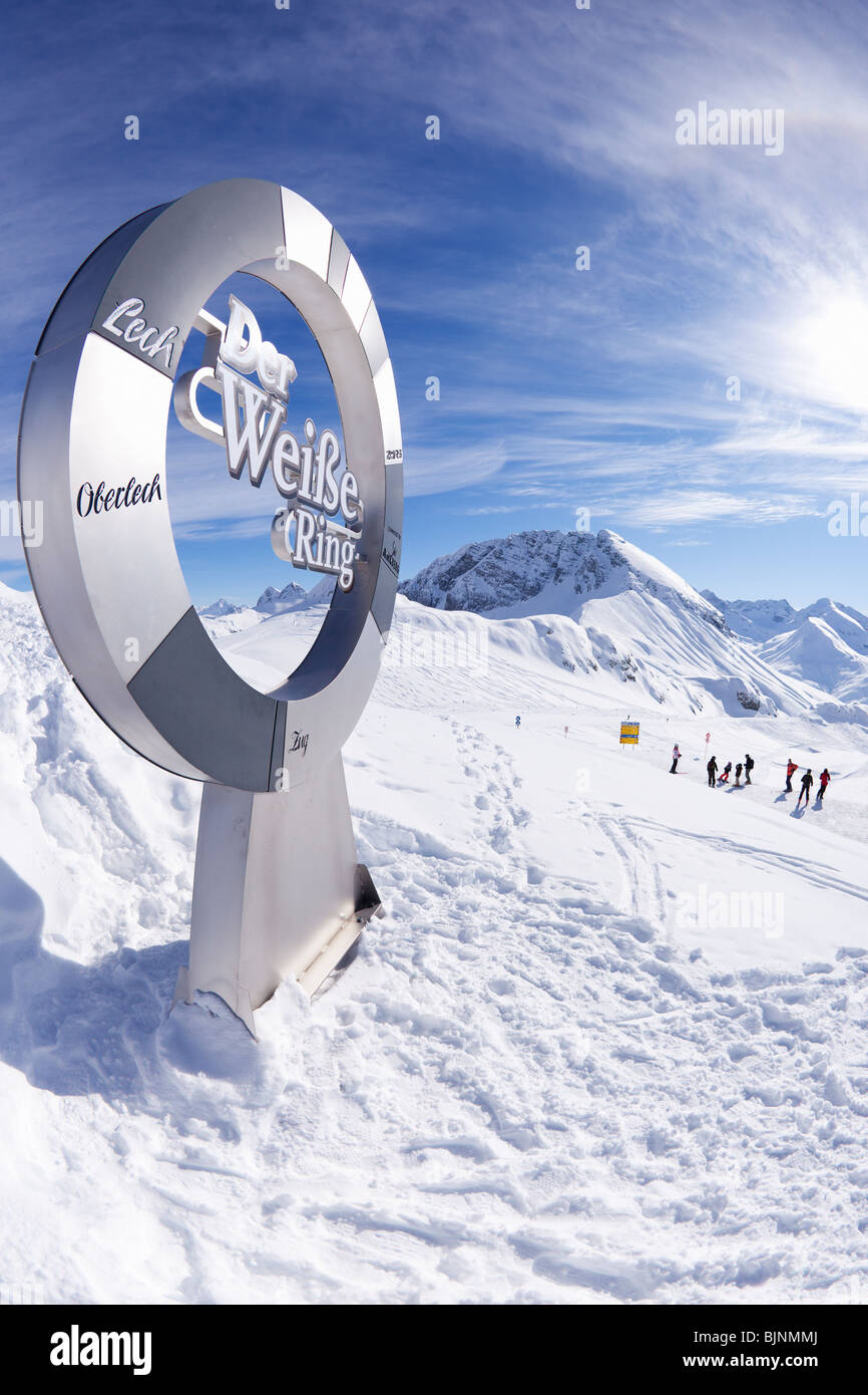 Der Weisse Ring Stubenbach Lech near St Saint Anton am Arlberg in winter snow Austrian Alps Austria Europe - Stock Image