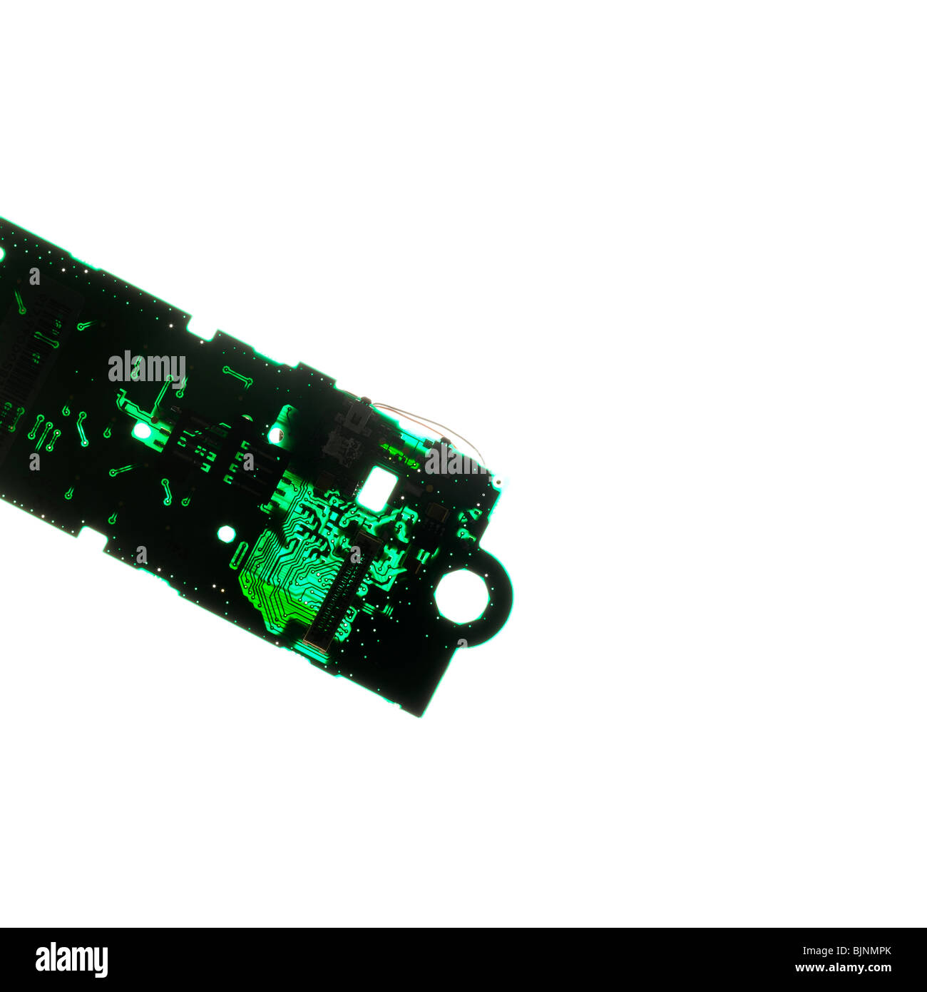 Card, electronic circuit, transparency, technology, green - Stock Image