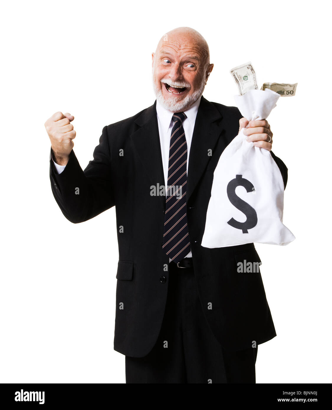 Portrait of businessman holding money and money bag - Stock Image
