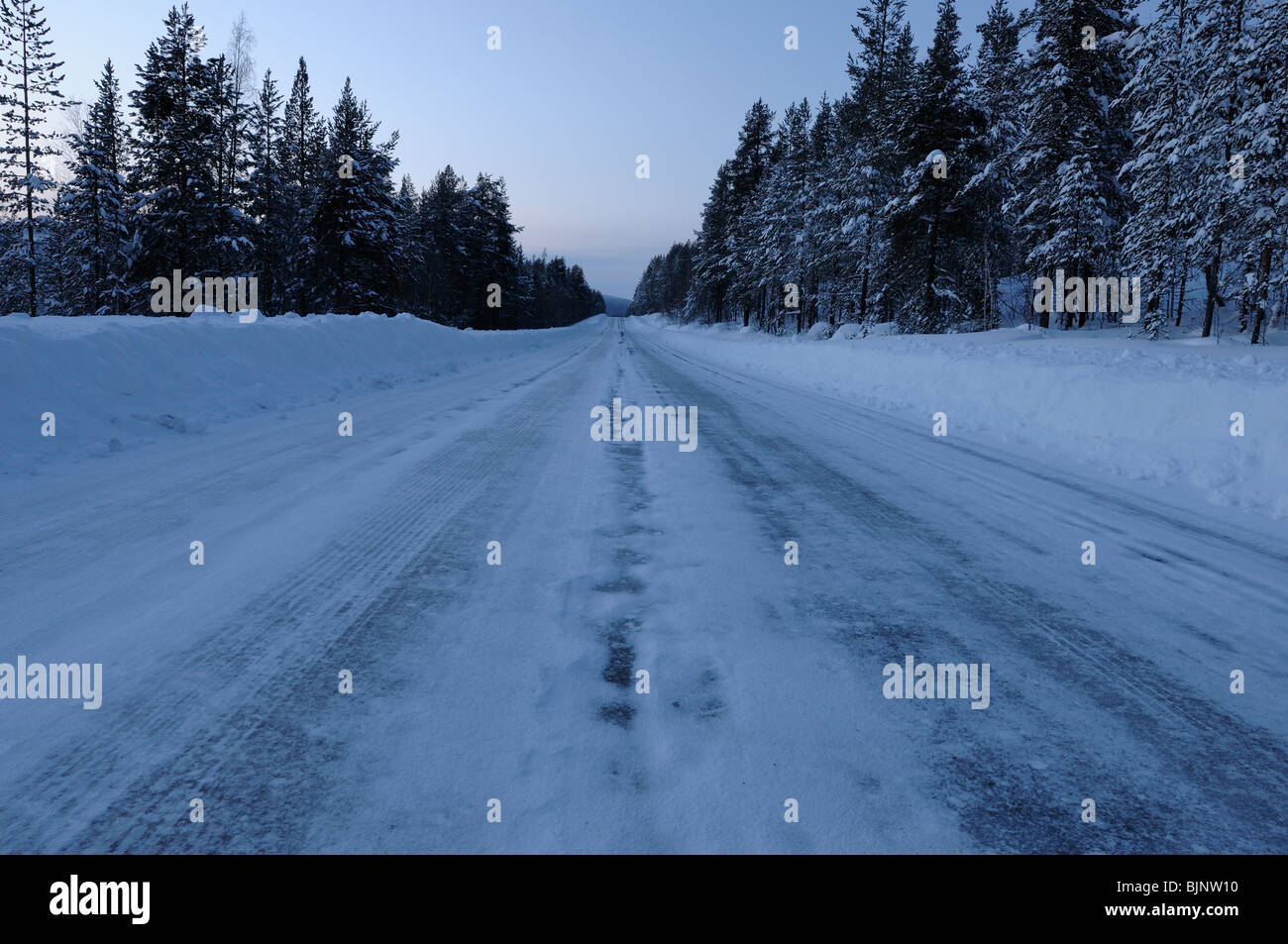 On the way from Gallivare to Kiruna, alone somewhere in Lapland. - Stock Image
