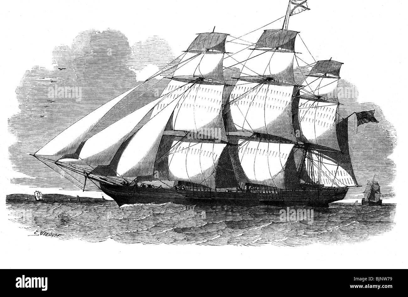 transport / transportation, navigation, sailing ships, clipper, 'Abergeldie' from Aberdeen, wood engraving - Stock Image