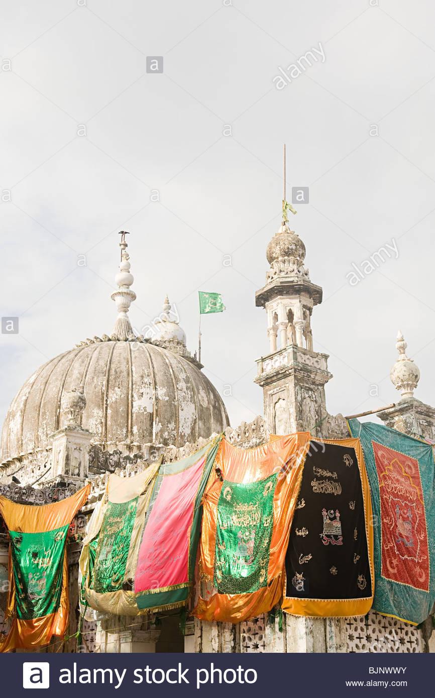 Banners hanging on haji ali dargah - Stock Image