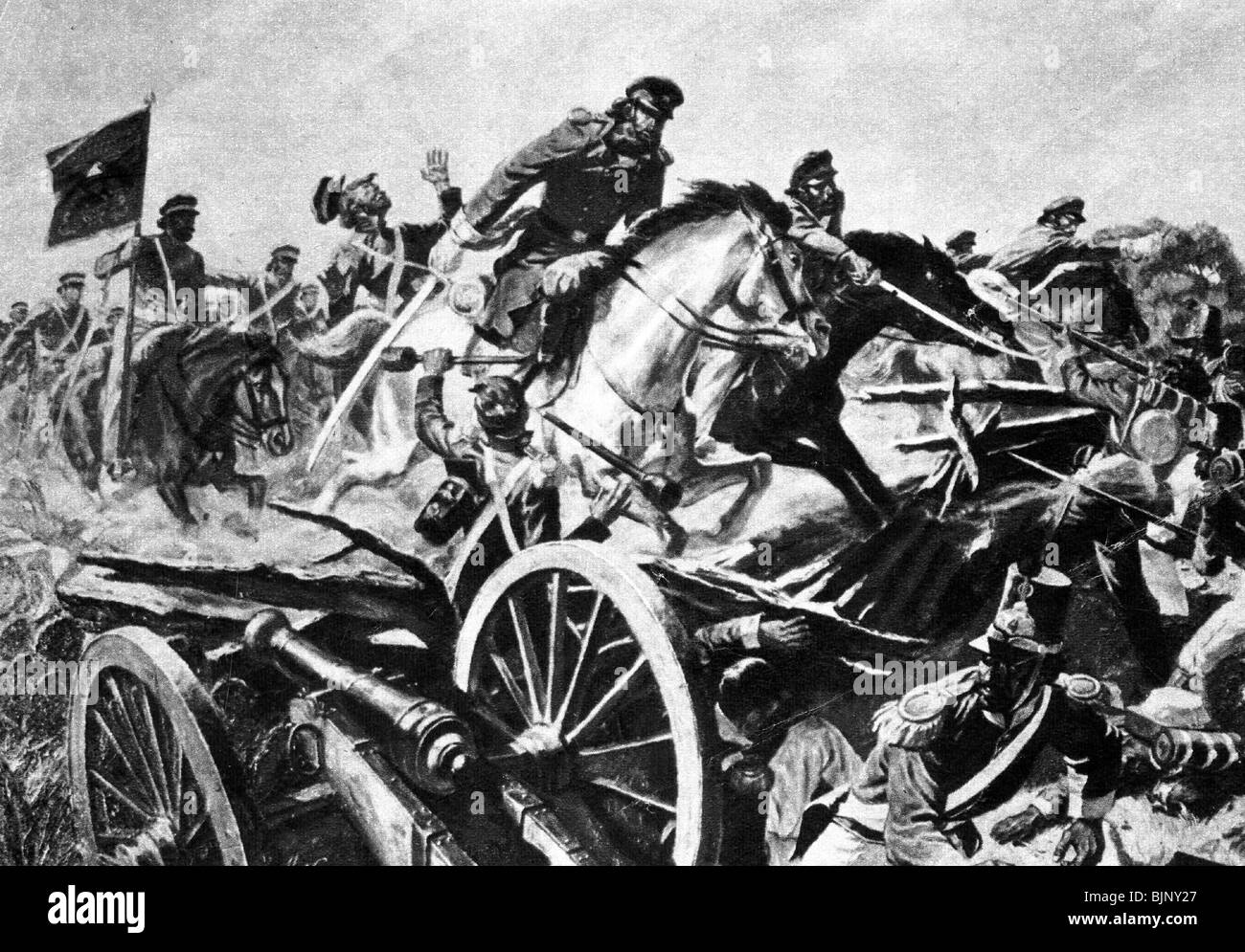 Mexican-American War 1845 - 1848, battle of Resaca de la Palma, 9.5.1846, attack of a squadron of the 2nd US Dragoons - Stock Image