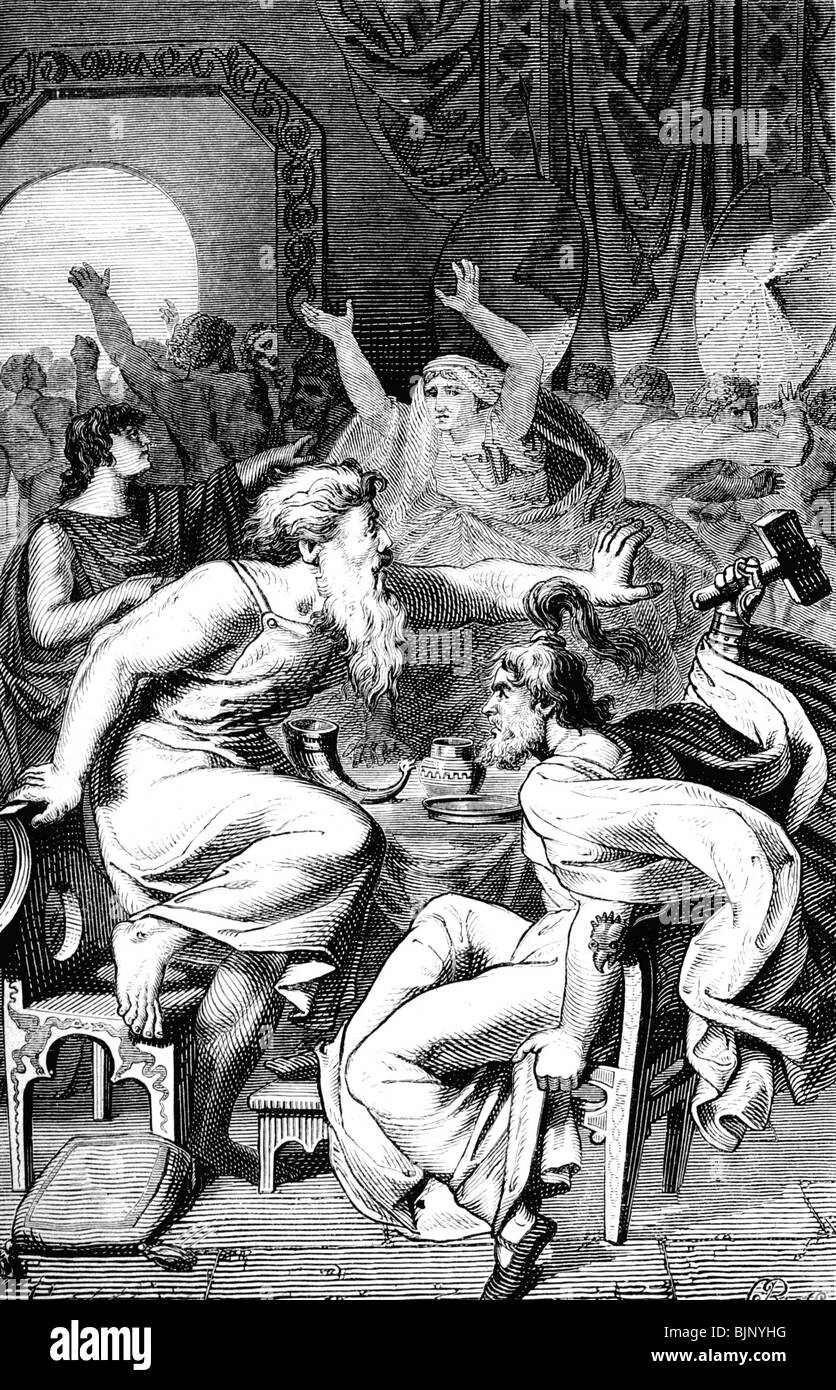 literature, Nordic Legends, Poetic Edda, Thor with Trymr, wood engraving after drawing by Ehrenberg, 19th century, - Stock Image