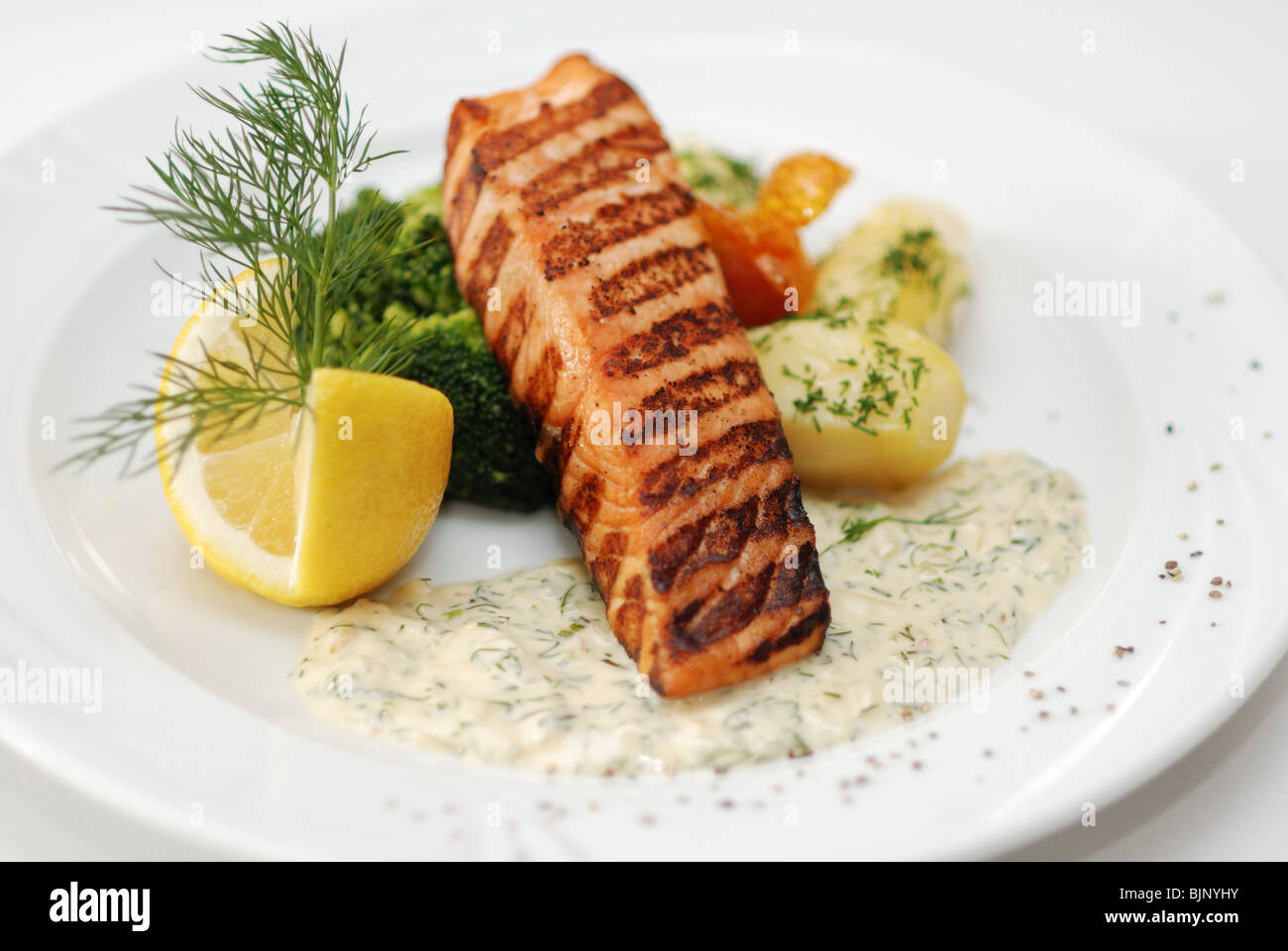 Grilled Salmon Served In Restaurant Stock Photo 28756839