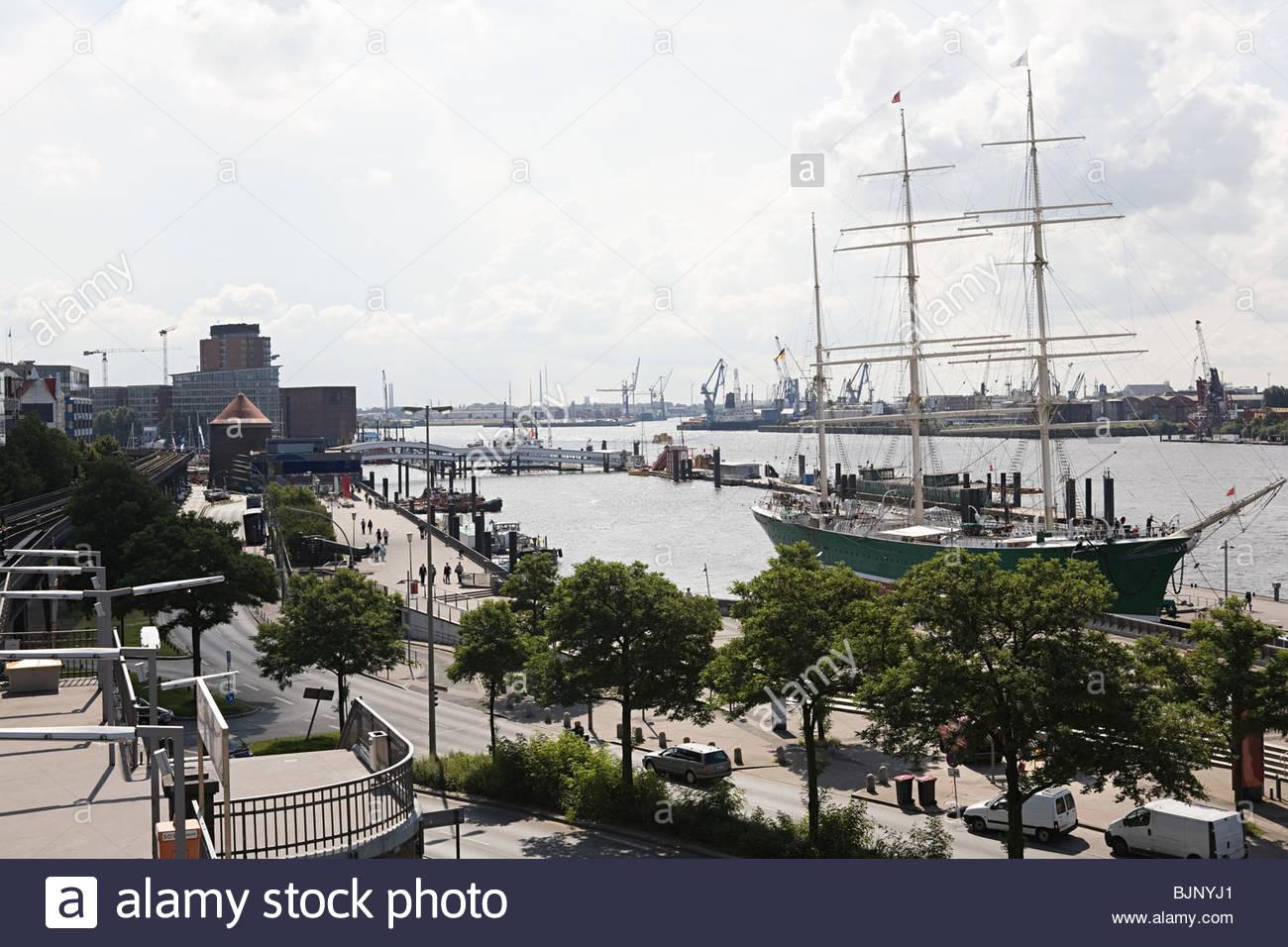 Ship in hamburg harbour Stock Photo