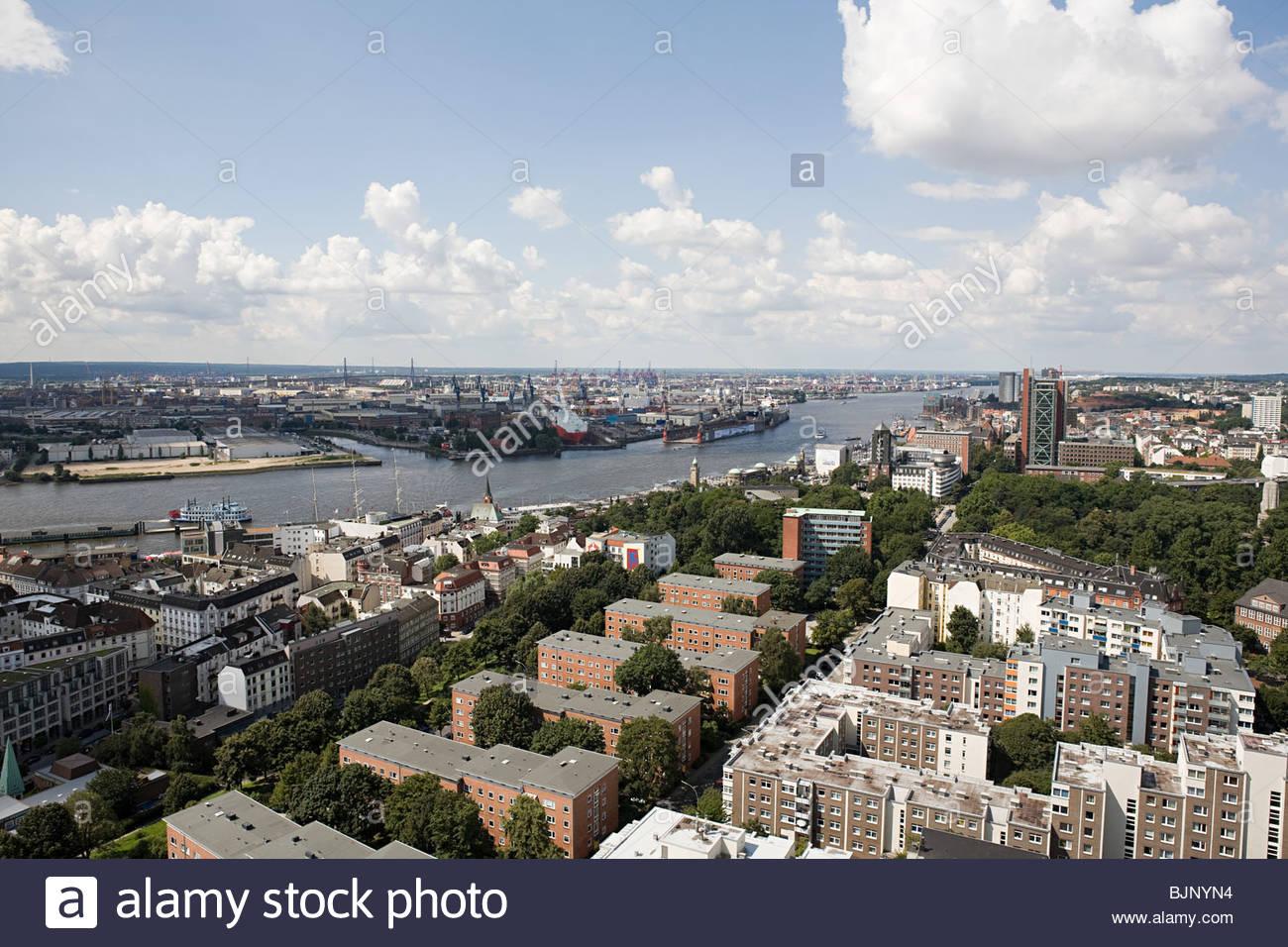 Hamburg cityscape - Stock Image