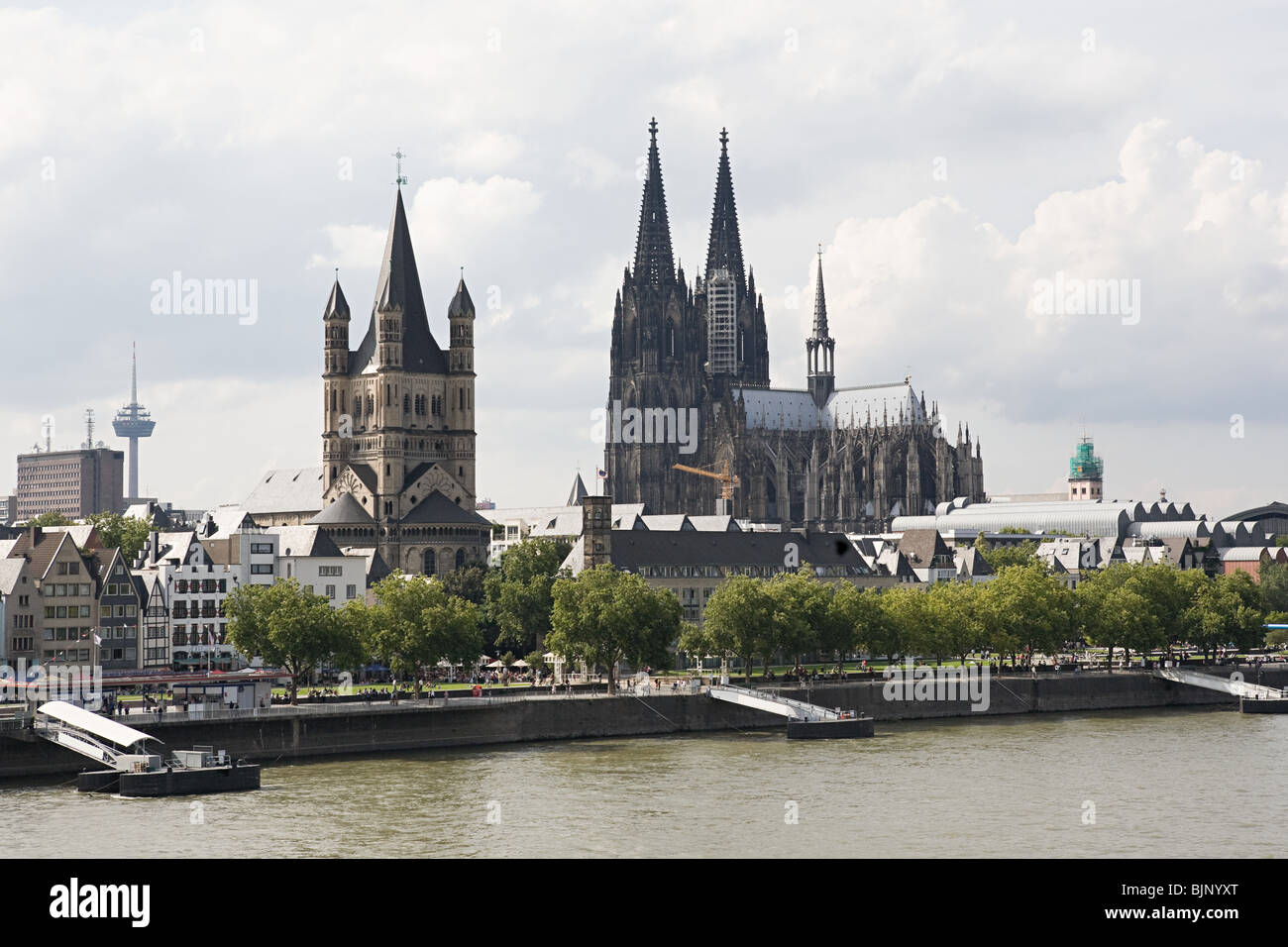 Great st martin church and cologne cathedral - Stock Image