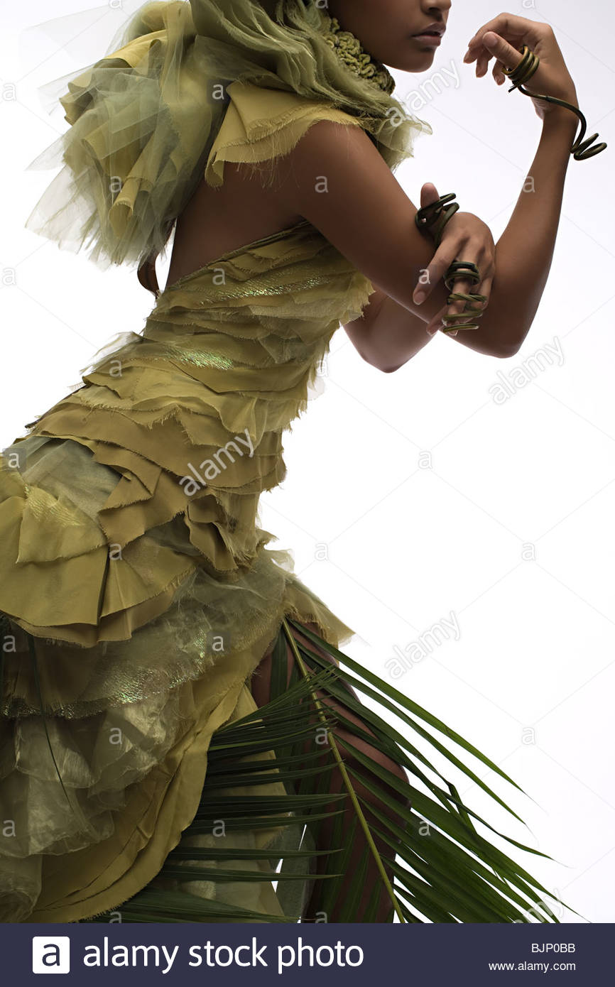A woman wearing a plant ring - Stock Image