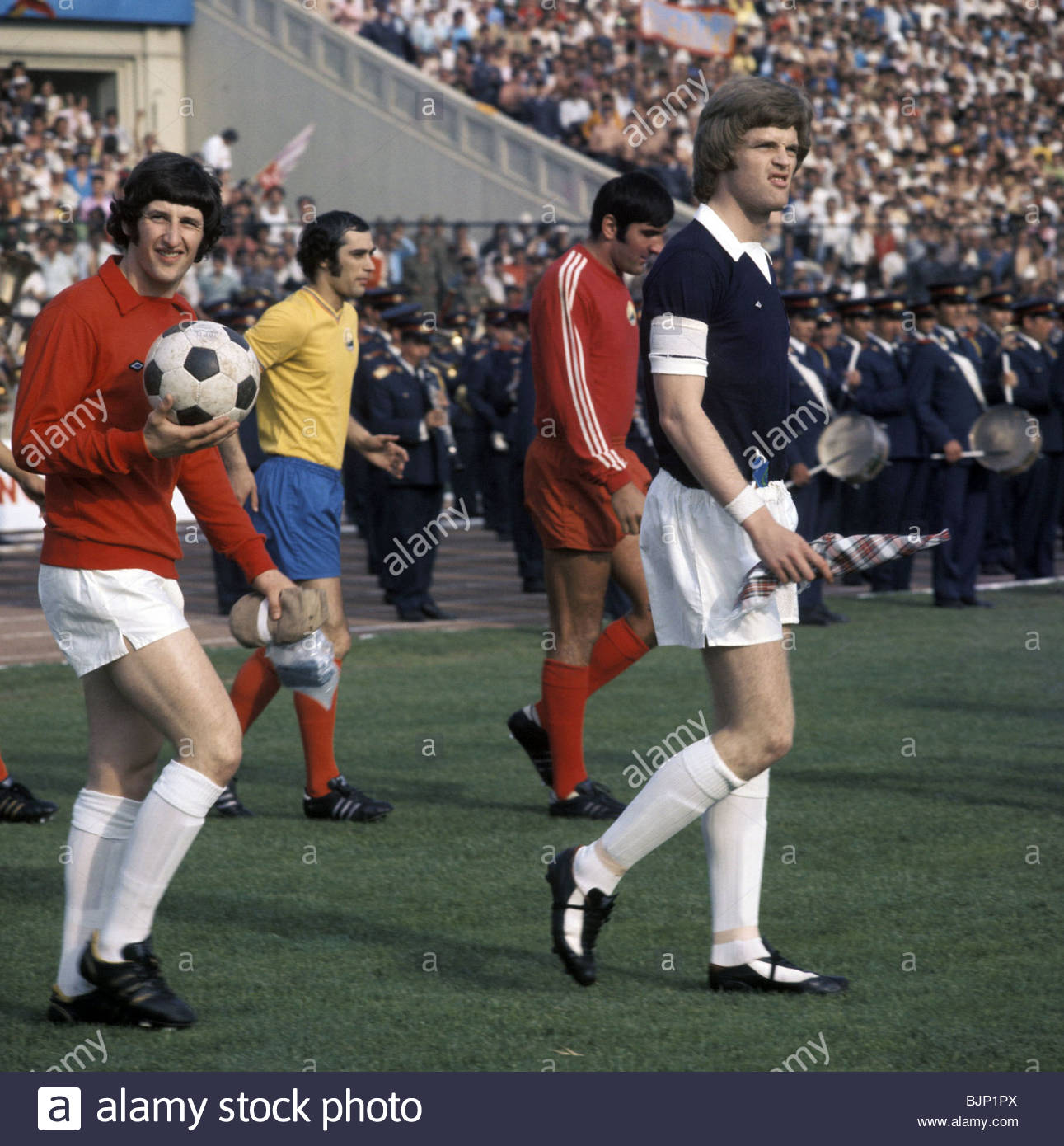 01/06/75 EUROPEAN CHAMPIONSHIP QUALIFIER ROMANIA V SCOTLAND (1-1) 23 AUGUST STADIONUL - BUCHAREST Scotland captain - Stock Image