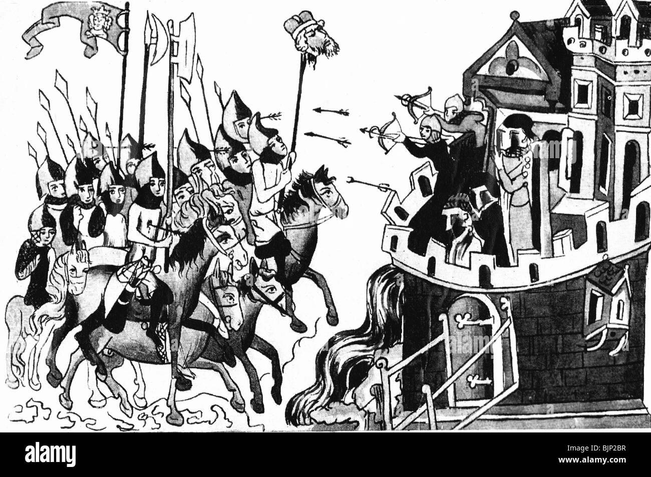 Mongol invasions of Europe 1237 - 1262, Battle of Legnica, 9.4.1241,  miniature, Jadwiga legend, Schlackenwerth Monastery, 1353, Poland, Silesia,  Mongols, ...