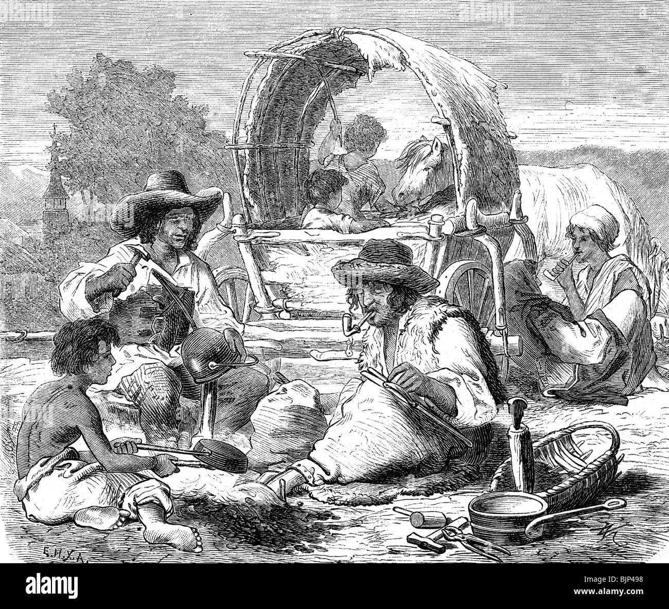 people, gypsies, tinkers at work, repairing a kettle, wood engraving, 19th century, after drawing by Vinzenz Melka - Stock Image