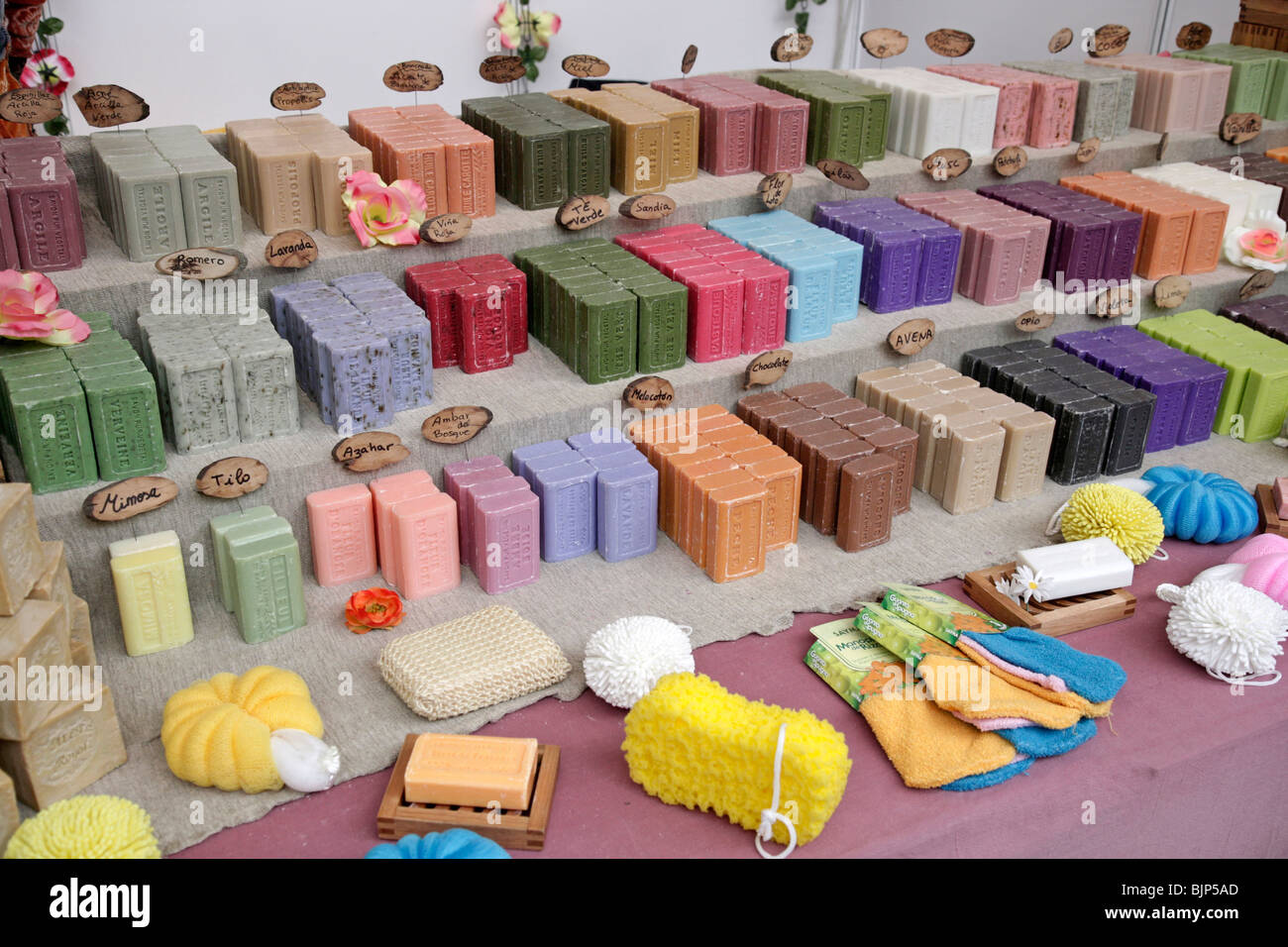 Natural soaps. Fira Natura. Lleida, Catalonia, Spain. Stock Photo