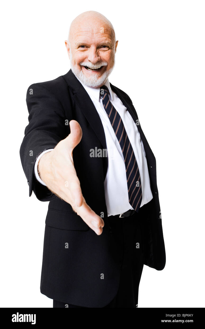 Portrait of businessman with outstretched hand Stock Photo