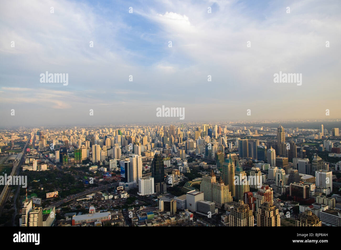 City skyline at sunset. Bangkok Thailand - Stock Image