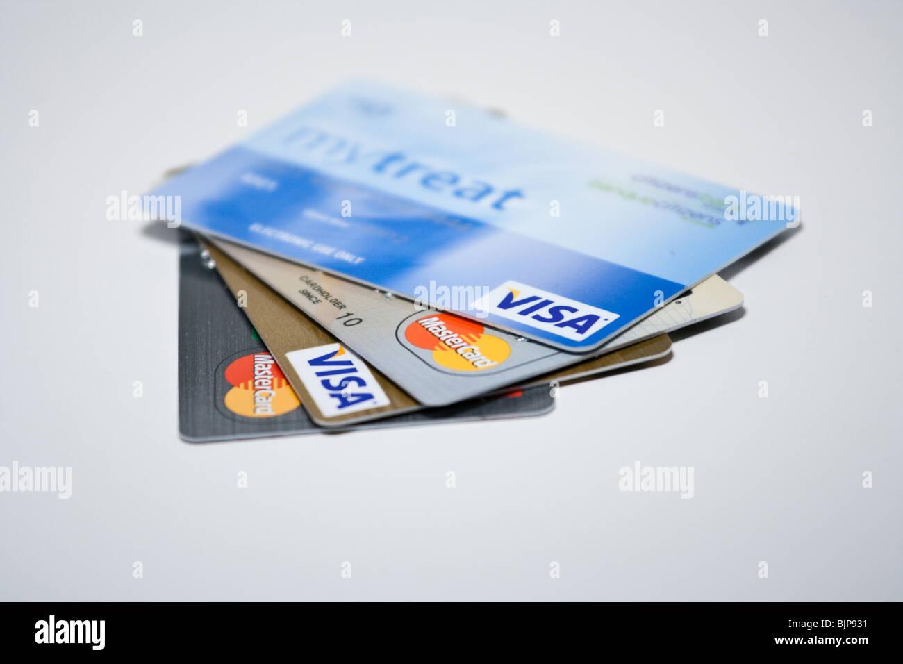 credit cards debt visa mastercard bank credits payment finance loan - Stock Image