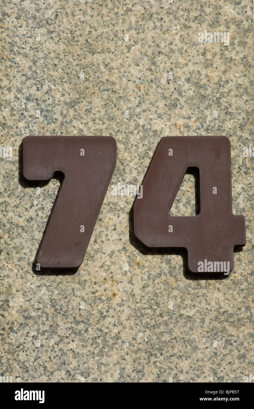 Number 74 house address Berlin Germany - Stock Image