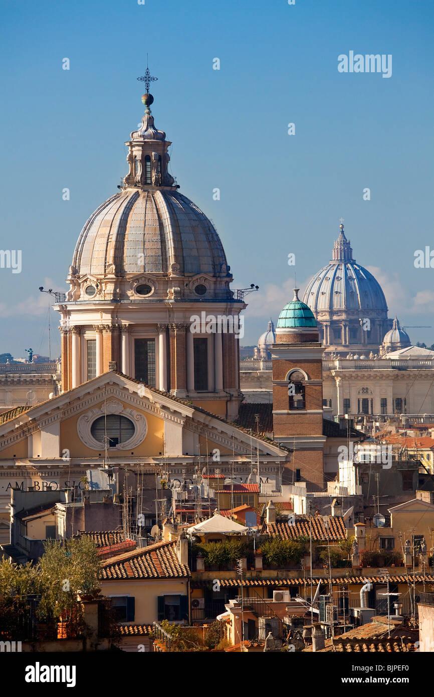 San Carlo al Corso and Saint Peter's Cupolas, Rome - Stock Image