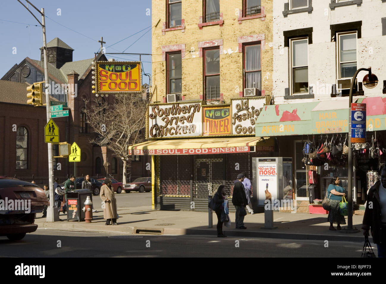 125th St. (Dr. Martin Luther King Blvd) and Morningside Ave., Harlem, New York City - Stock Image