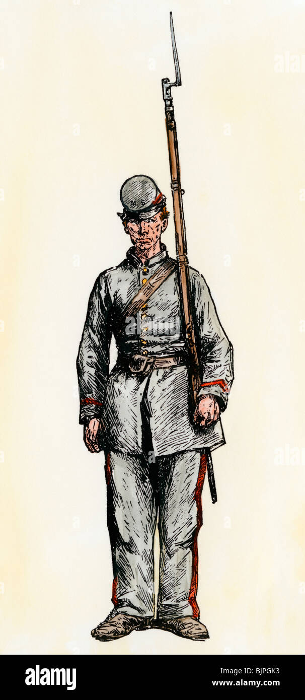 Confederate infantryman, American Civil War. Hand-colored woodcut - Stock Image