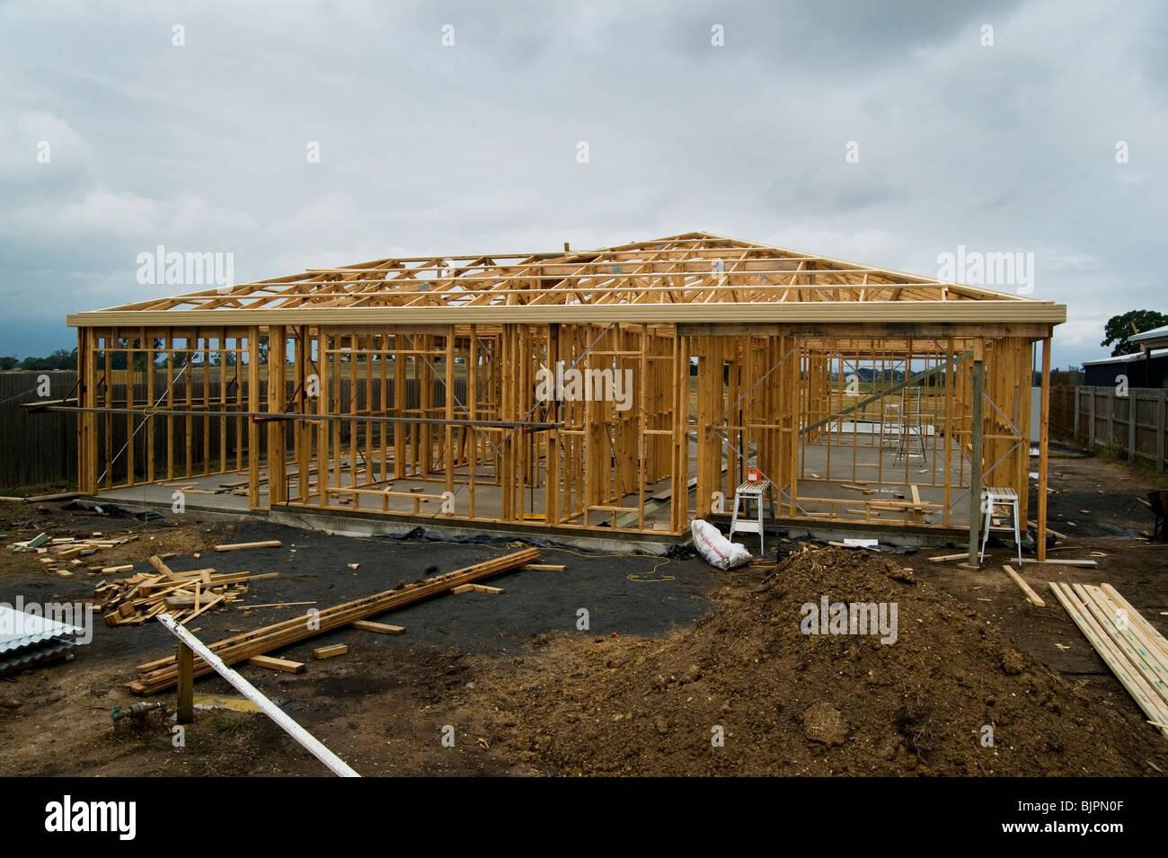 timber house frame Stock Photo