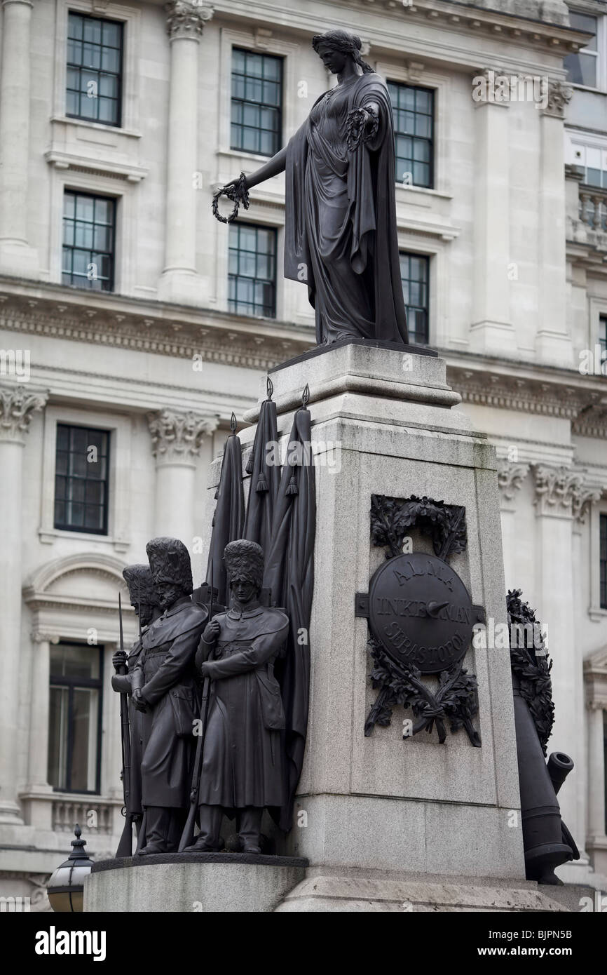 The Guards Monument to the fallen in the Crimean War in London with the figures cast from captured Russian guns - Stock Image
