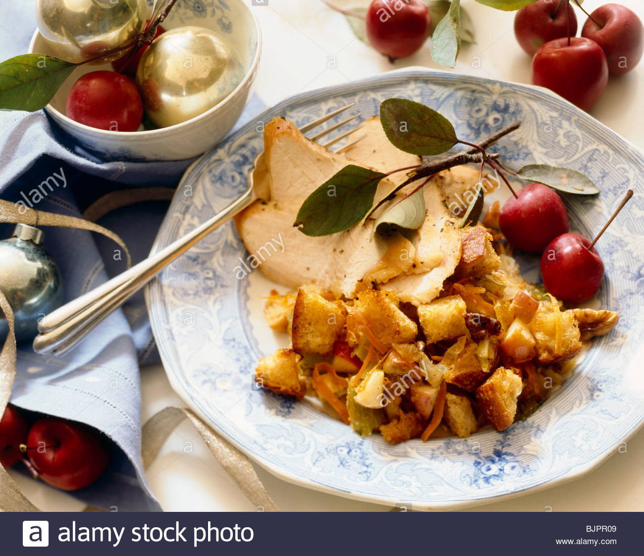 Holiday Dinner Plate; Sliced Turkey with Bread Stuffing; Christmas Decorations & Holiday Dinner Plate; Sliced Turkey with Bread Stuffing; Christmas ...