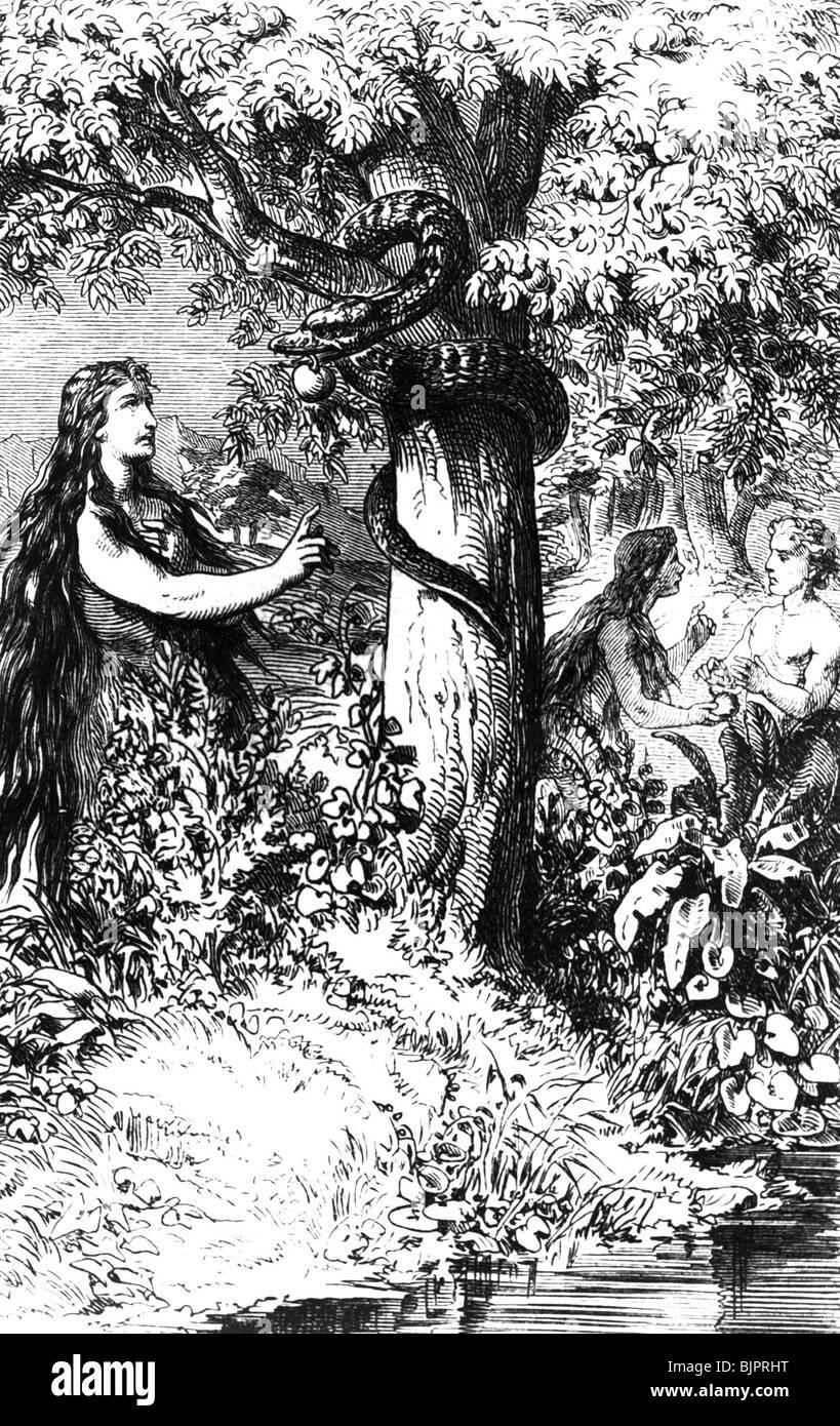 "religion, biblical scenes, Adam and Eve in paradies, ""The ..."