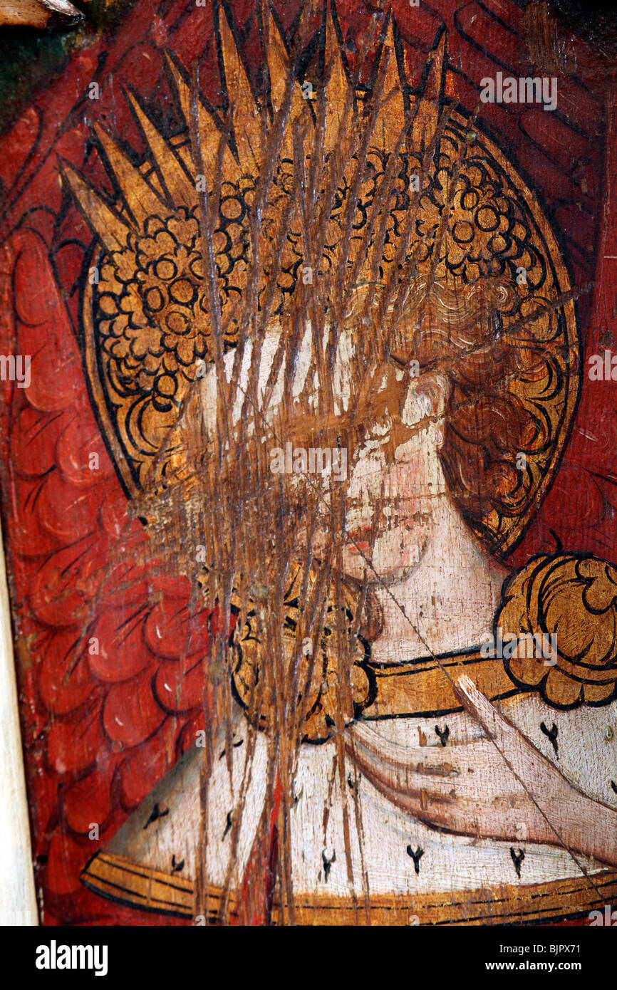 Painted Rood Screen depicting A Seraphim, defaced at the Reformation, St Michael and All Angels Church, Barton Turf, - Stock Image
