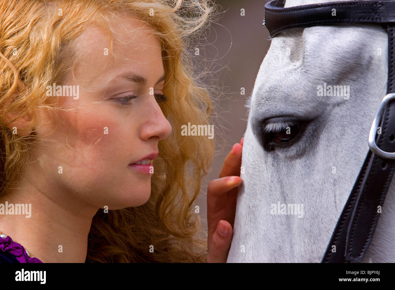 Girl with horse 5 - Stock Image