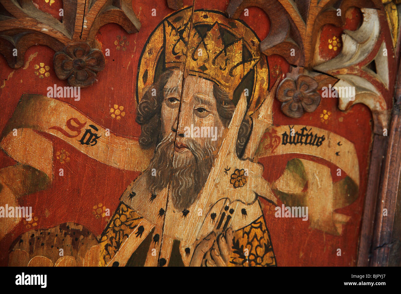 Painted Rood Screen depicting Saint Olaf, St Michael and All Angels Church, Barton Turf, Norfolk - Stock Image