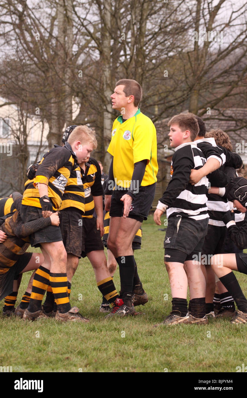 Junior Under 12s rugby game match referee instructs the young players to scrum - Stock Image