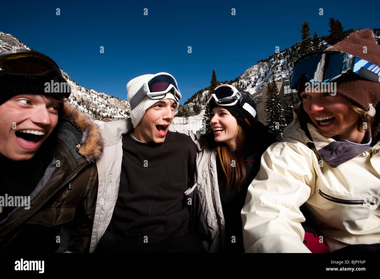 Friends outside in the snow - Stock Image